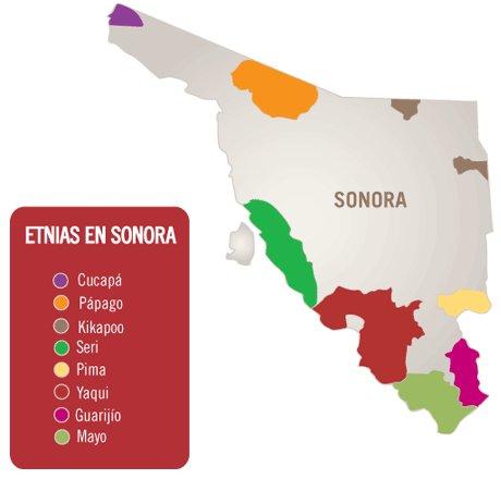 Ubicacion de Etnias en Sonora | Cd. Obregon en Sonora, Fierro por la ...